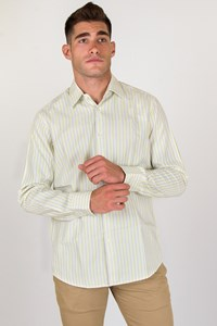 Boss White Shirt with Lime, Brown and Ecru Stripes / Size: 42 - Fit: M
